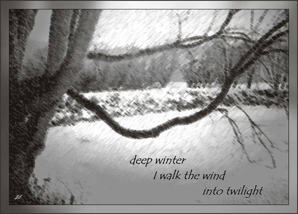 'deep winter / I walk the wind / into twilight' by Lary Fraser. Haiku first published in Roadrunner IX:1, February 2009.