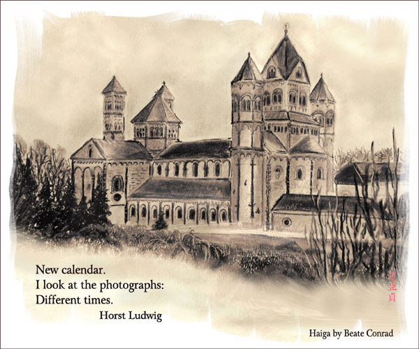 """""""New calendar / I look at the photographs; / Different times.' by Beate Conrad. Haiku by Horst Ludwig."""
