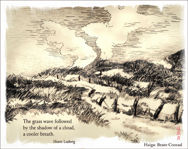 'The grass wave followed / by the shadow of a cloud / a cooler breath.' by Beate Conrad. Haiku by Horst Ludwig.