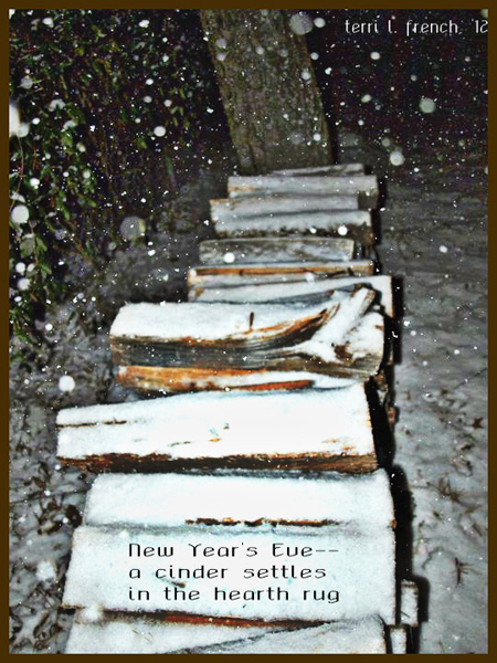 """'New Year's Eve� / a cinder settles / in the hearth rug"""" by Terri French"""