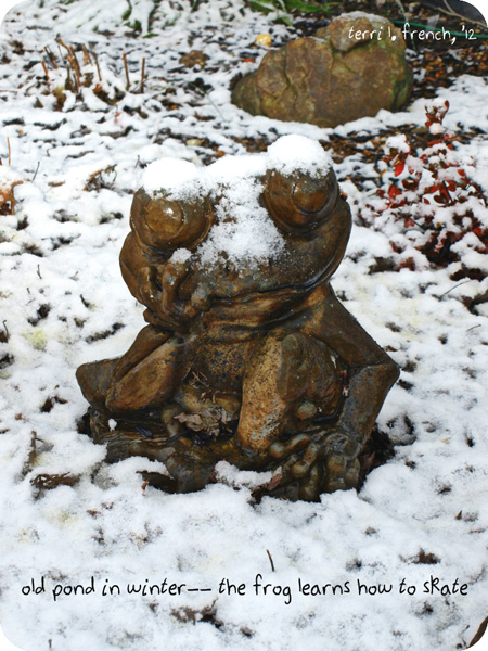 """""""old pond in winter� the frog learns how to skate' by Terri French"""