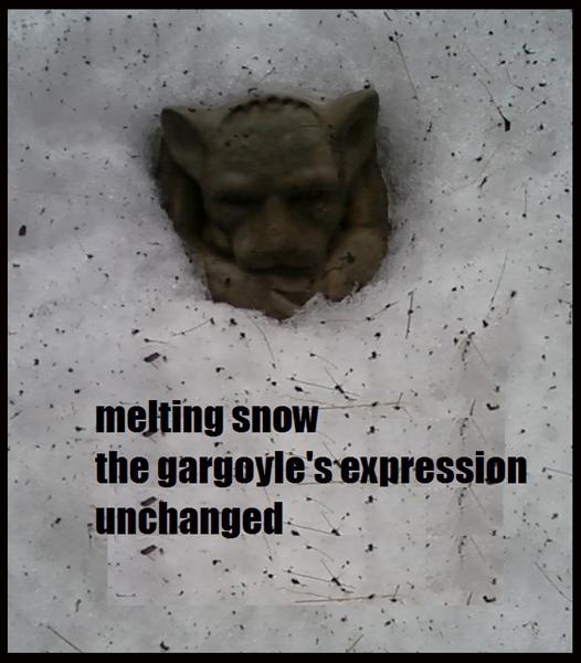 'melting snow / the gargoyle's expression / unchanged' by Brett Peruzzi