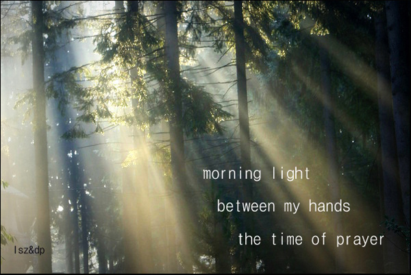 'morning light / between my hands / the time of prayer' by Lech Szeglowski. Art by Dorota Pyra.
