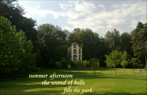 'summer afternoon / the sound of bells / fills the park' by Andrzej Dembonczyk