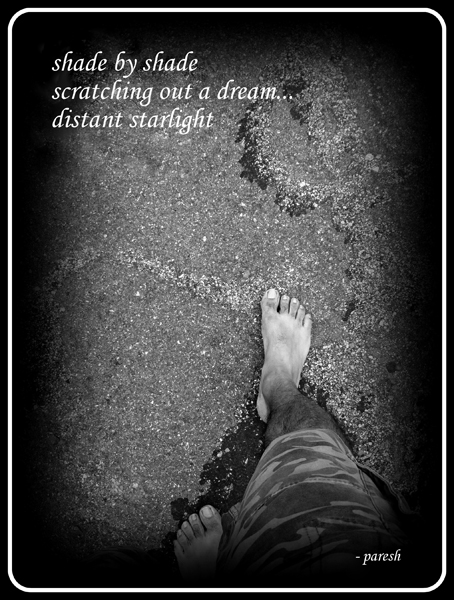 'shade by shade / scratching our a dream... / distant starlight' by Paresh Tiwari