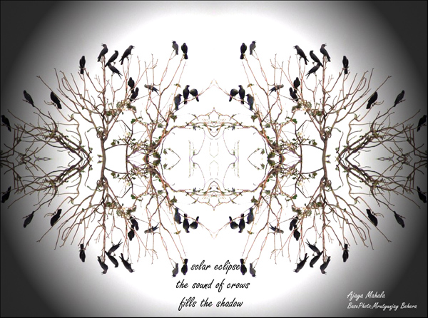 'solar eclipse / the sound of crows / fills the shadow' by Ajaya Mahala. Art by  M Behera.