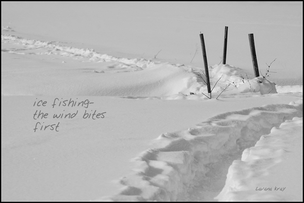 'ice fishing— / the wind bites / first' by Lavana Kray