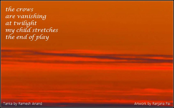 'the crows / are vanishing / at twilight / my child stretches / the end of play' By Ramesh Anand. Art by Ranjana Pai.