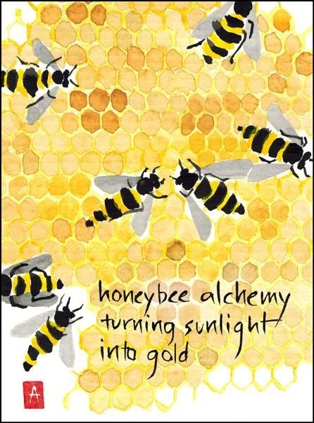 'honeybee alchemy / turning sunlight / into gold' by Annette Makino