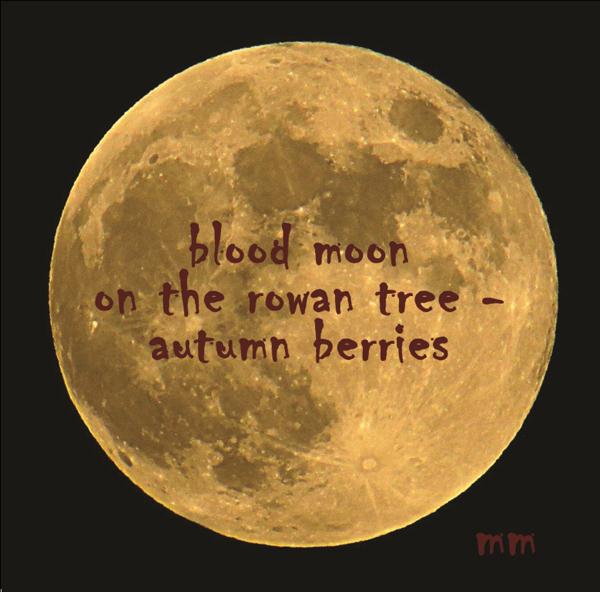 'blood moon / on the rowan tree� / autumn berries' by Mamta Madhaven. Art by Anushka Menon