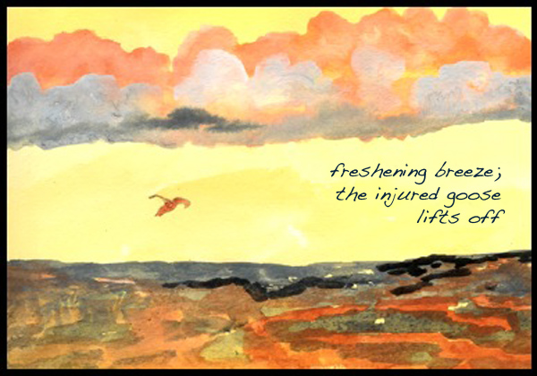 'freshening breeze; / the injured goose / lifts off' by Emily Romano