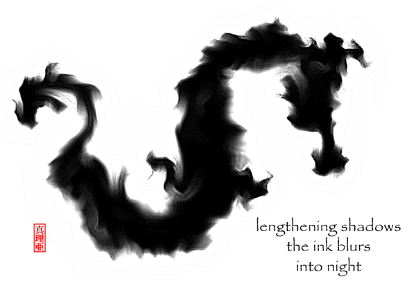 lengthening shadows / the ink blurs / into night' by Maria Tomczak