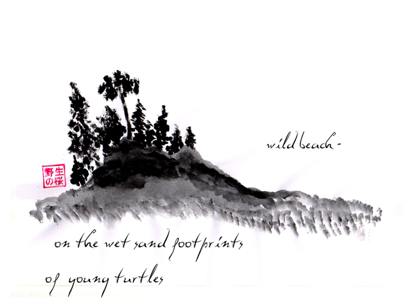 'wild beach� / on the wet sand footprints / of young turtles' by Janina Kolodziejczyk