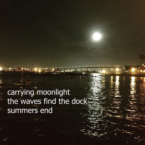 'carrying moonlight / the waves find the dock / summers end' by Daniel J Keddy