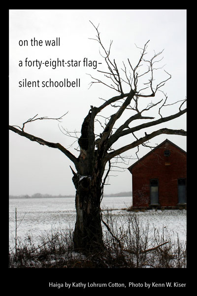 'on the wall / a forty-eight star flag� / silent schoolbell' by Kathy Lohrum Cotton. Art by Kenn W. Kiser.