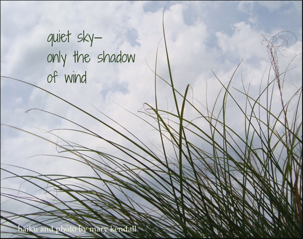 'quiet sky� / only the shadow / of wind' by Mary Kendall