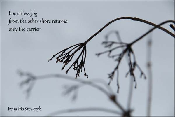 'boundless fog / from the other shore returns / only the carrier' by Irena Szewczyk
