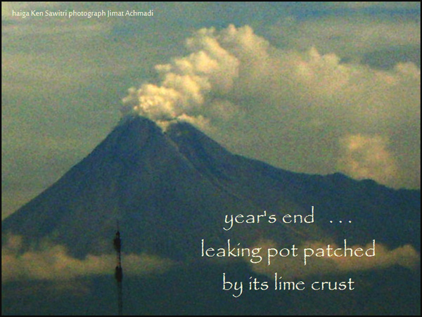 'year's end... / leaking pot patched / by its lime crust' by Ken Sawitri. Art by Jimat Achmadi