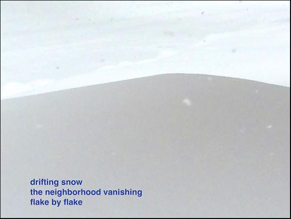'drifting snow / the neighbourhood vanishing / flake by flake' by Doug Norris