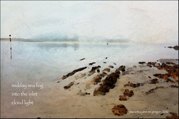 'midday sea fog / into the inlet /  cloud light' by Marietta McGregor
