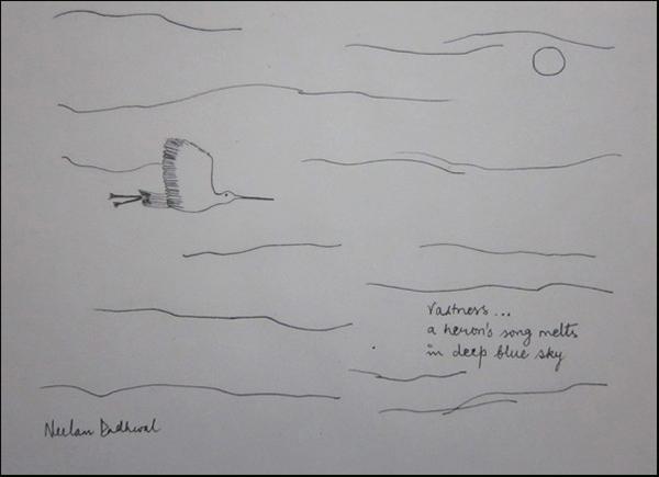 'vastness... / a heron's song melts / in deep blue sky' by Neelam Dadhwal