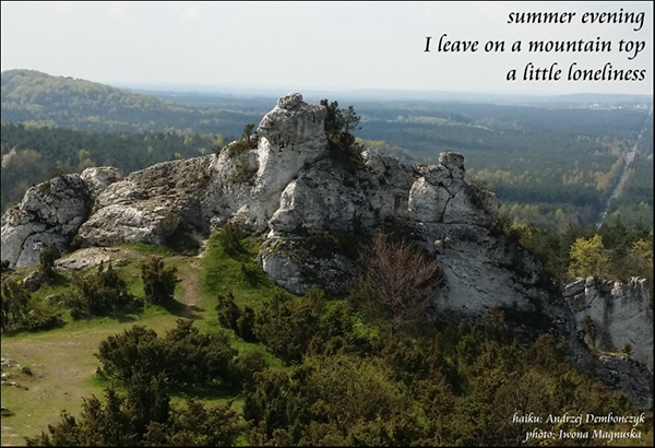 'summer evening / I leave on a mountain top / a little lonliness' by Andrzej Dembonczyk. Art by Iwona Magnuska
