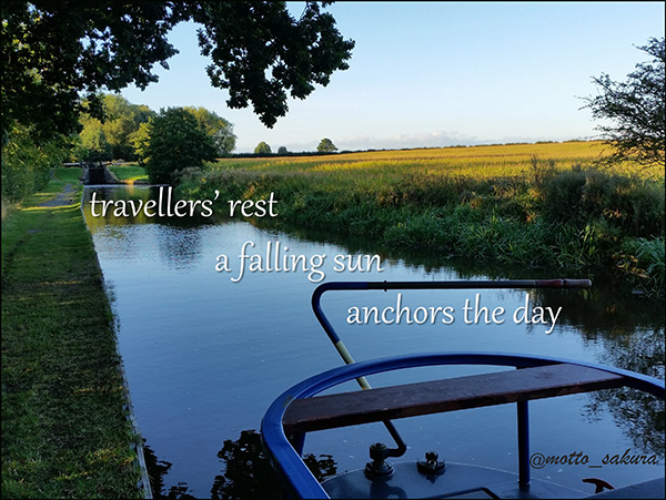 'traveler's rest / a falling sun / anchors the day' by David Kelly