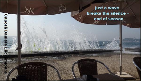 'just a wave / breaks the silence� / end of season' by Daniela Capota