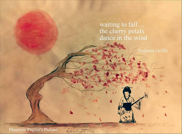 'waiting to fall... / the cherry petals / dance in the wind' by Eufemia Griffo. Art by Mario Puglisi
