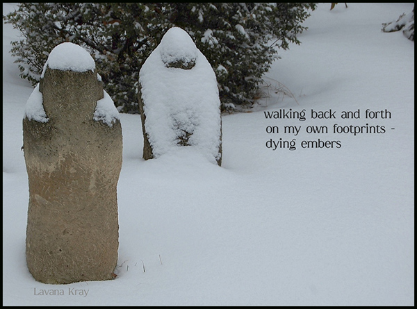 'walking back and forth / on my own footprints� / dying embers' by Lavana Kray