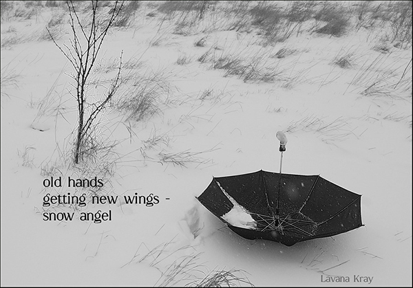 'old hands / getting new wings— / snow angel' by Lavana Kray