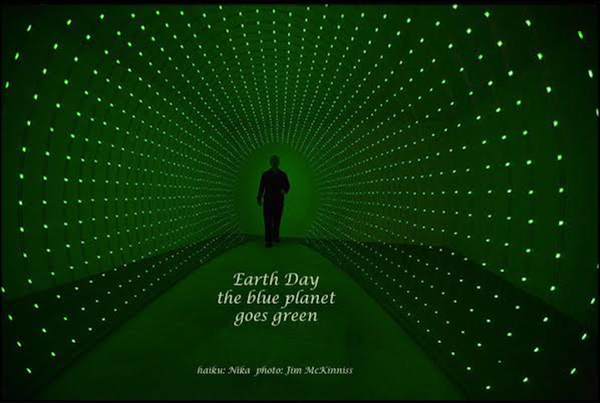 'Earth Day / the blue planet / goes green' by Nika. Art by Jim McKinnis