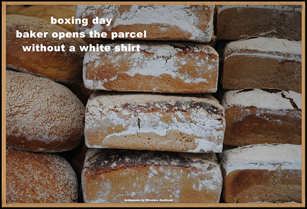 """boxing day / baker opens the parcel / without a white shirt' by Wieslaw Karlinski"