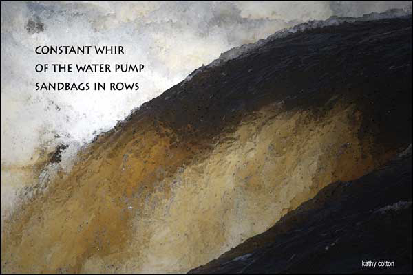'constant whir / of the water pump / sandbags in rows' by Kathy Cotton