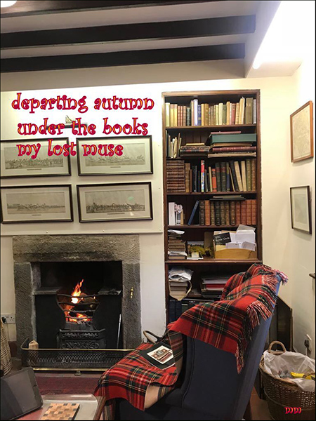 'departing autumn / under the books / my lost muse' by Mamta Madhaven