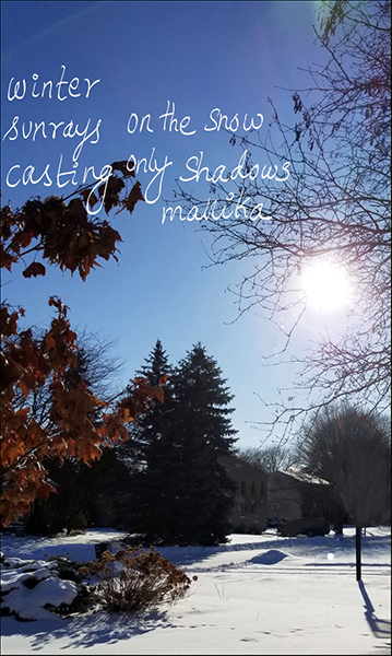 'winter / sunrays on the snow / casting only shadows' by Mallika Chari