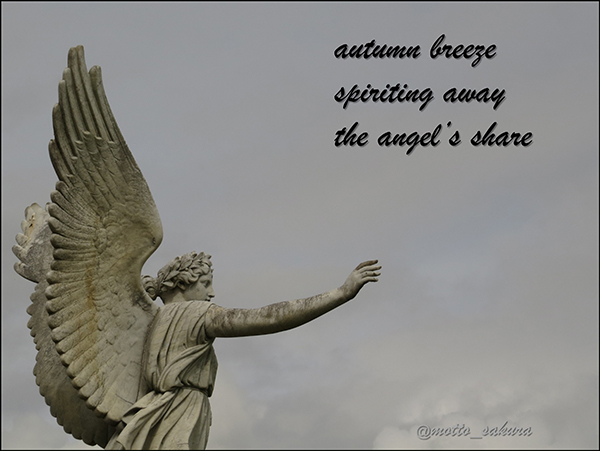 'autumn breeze / spiriting away / the angel's share' by David Kelly