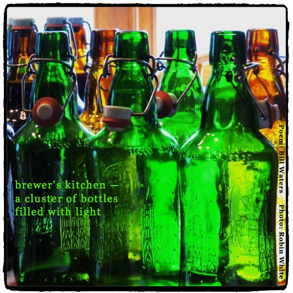 'brewer's kitchen / a cluster of bottles / filled with light' by Bill Waters. Art by Robin White