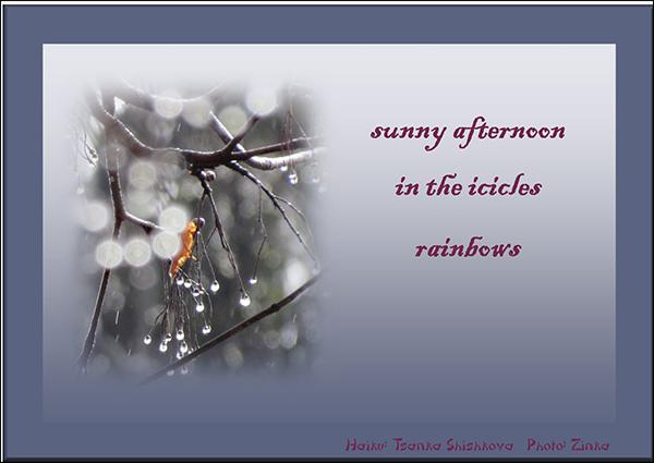 'sunny afternoon / in the icicles / rainbows' by Tsanka Shishkova. Art by Zinka