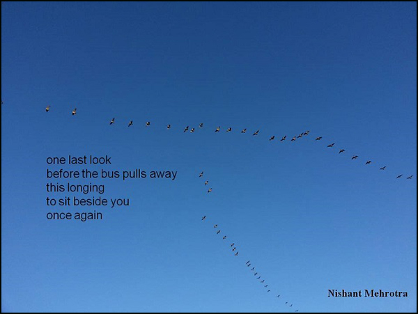 'one last look / before the bus pulls away / this longing / to sit beside you / once again' by Nishant Mehrotra