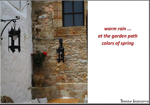 'warm rain... / at the garden path / colors of spring' by Tsanka Shishkova