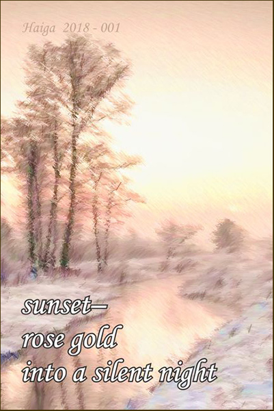 'sunset— / rose gold / into a silent night' by Estasnislao Rodriguez