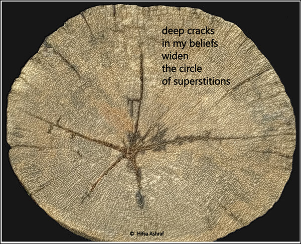 'deep cracks / in my beliefs / widen / the circle / of superstitions' by Hifsa Ashraf