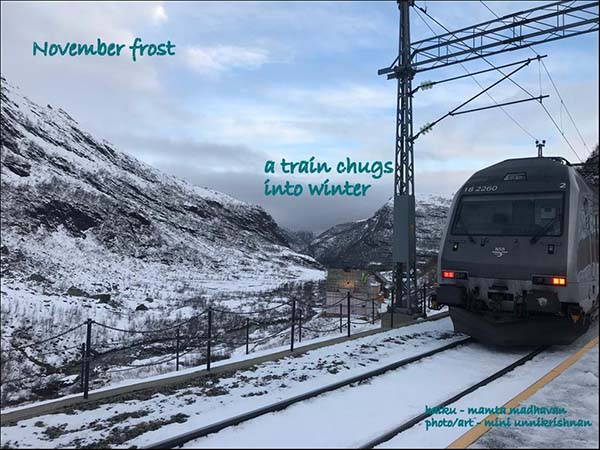 'november frost / a train chugs / into winter' by Mamta Madhavan. Art by Mini Unnikrishnan