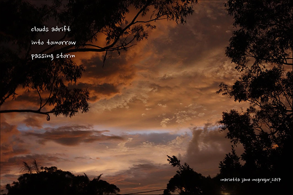 'clouds adrift / into tomorrow/ passing storm' by Marietta McGregor