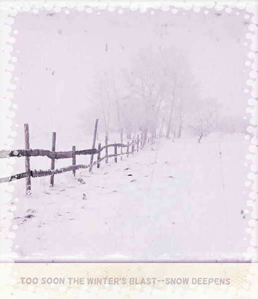 'too soon the winter's blast— snow deepens' by Mary Ellen Gambutti