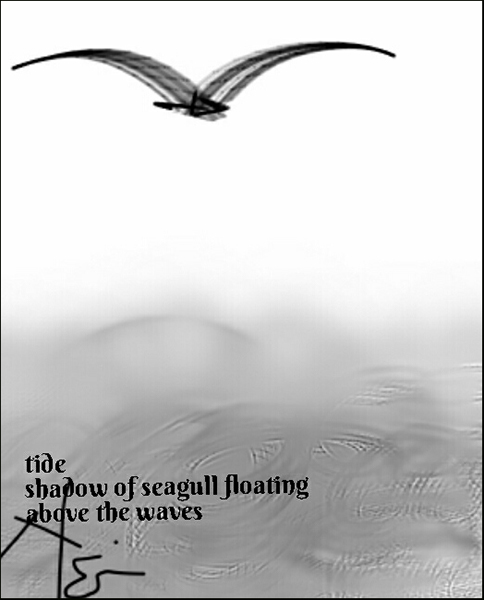 'tide / shadow of a seagull floating / above the waves' by Neni Rusliana