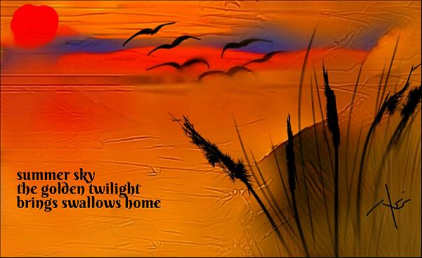 'summer sky / the golden twilight / brings swallows home' by Neni Rusliana