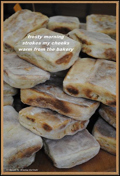 'frosty morning / strokes my cheeks / warm from the bakery' by Wieslaw Karlinski