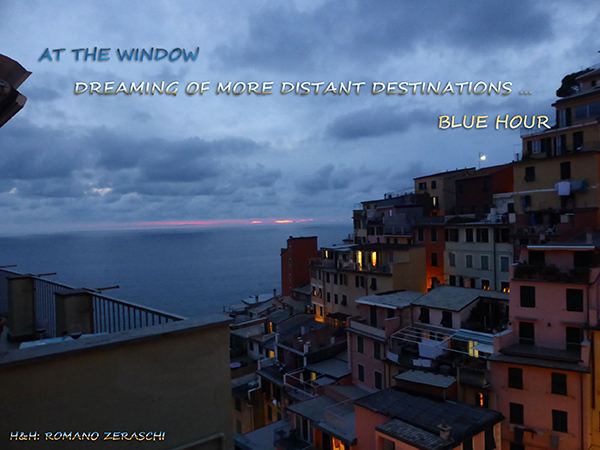 'at the window / dreaming of more distant destinations / blue hour' by Romano Zeraschi